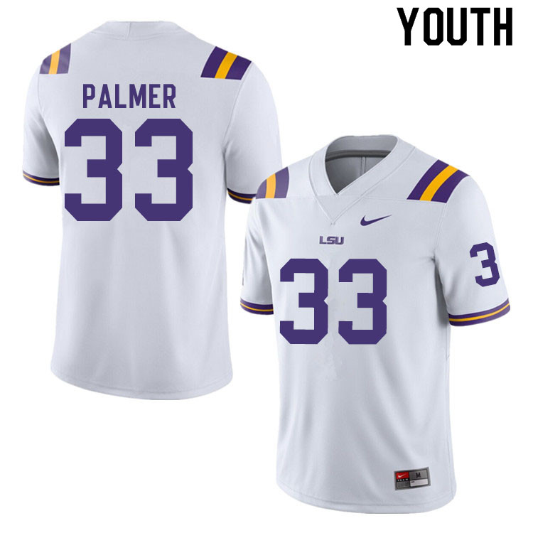 Youth #33 Trey Palmer LSU Tigers College Football Jerseys Sale-White
